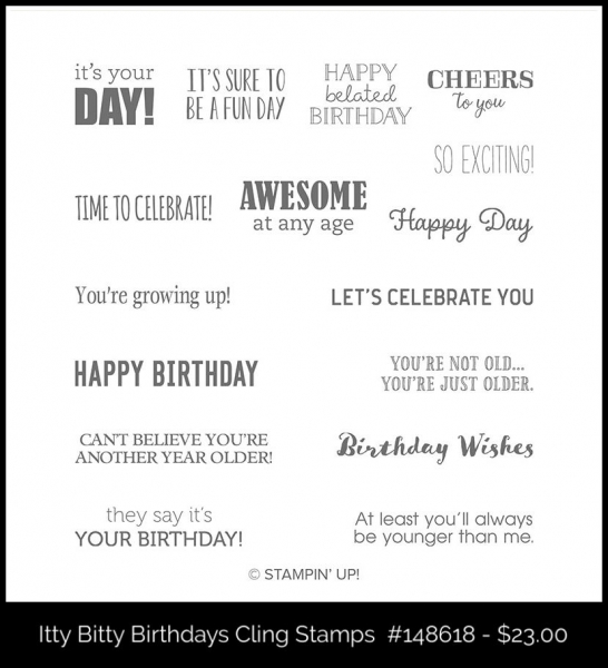 148618 Itty Bitty Birthdays Cling Stamp Set