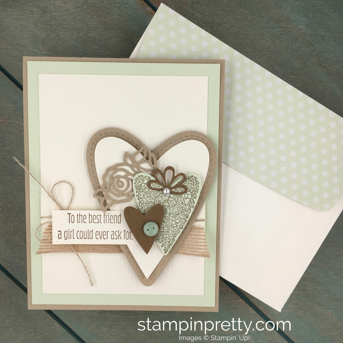 Create a simple valentine card using Stampin Up Meant to Be & Be Mine Stitched Framelits