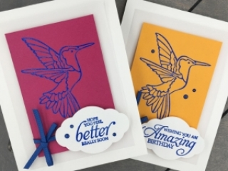 Learn How to Create an embossed image on a handmade card using the Humming Along Stamp Set by Stampin' Up! Mary Fish, Stampin' Pretty