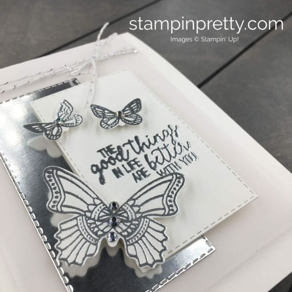 Learn how to create this Friend Card using the Butterfly Gala Stamp Set, Butterfly Duet Punch and Rectangle Stitched Framelits Dies by Stampin' Up! Mary Fish, Stampin' Pretty
