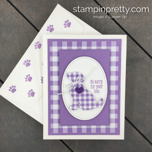 Learn how to create this Gingahm Gala Card using the Happy Tails Bundle by Stampin' Up!. Stampin' Pretty, Mary Fish.