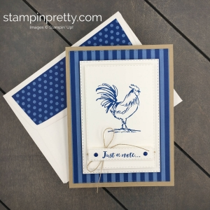 Learn how to create this Just a Note Card using the FREE Sale-a-Bration Set called Home to Roost. Created by Mary Fish, Stampin' Pretty