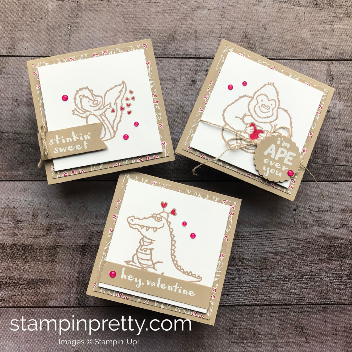 Learn how to create this trio of valentine's using the Hey Love Stamp Set by Stampin' Up! 3x3 Cards Created by Mary Fish, Stampin' Pretty!