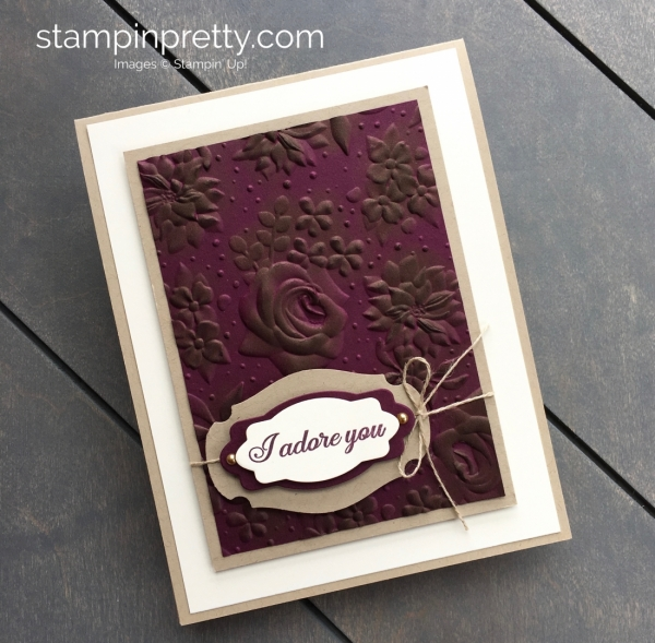 Create a love anniversary card using Country Floral embossing folder and Lasting Lily - Mary Fish StampinUp idea