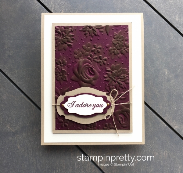 Create a love anniversary card using Country Floral embossing folder and Lasting Lily - Mary Fish StampinUp ideas