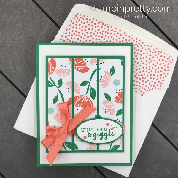 Learn How to Create this Giggle Together Card using the Happiness Blooms Suite of Products from Stampin' Up! Card by Mary Fish, Stampin' Pretty