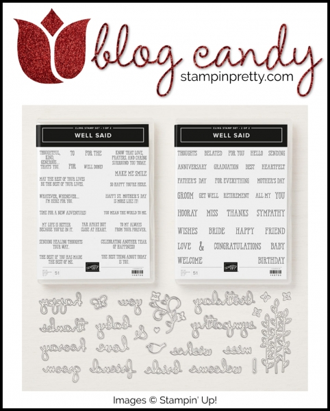 A Blog Candy Giveaway - Well Said Cling Mount Bundle - Stampin' Pretty