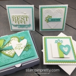 Create these All Adorned 3 x 3 Cards to fit into the Mini Pizza Box by Stampin