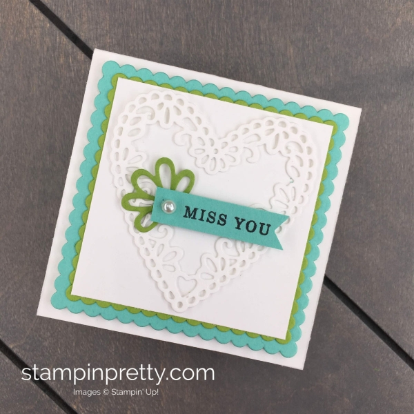 Create these All Adorned 3 x 3 Cards to fit into the Mini Pizza Box by Stampin' Up! Mary Fish, Stampin' Pretty
