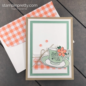 Create this Tea Time Love Card using the Time For Tea Stamp Set by Stampin' Up! Mary Fish, Stampin' Pretty
