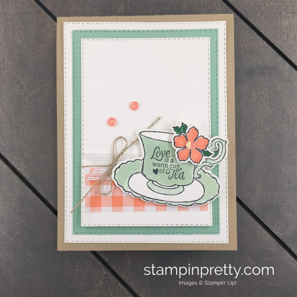 Create this Tea Time Card using the Tea Together Stamp Set & Tea Time Framelits Dies by Stampin' Up! Mary Fish, Stampin' Pretty
