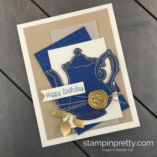 Create this handmade card using the Tea Together and Time for Tea Framelits Dies by Stampin' Up! Stampin' Pretty, Mary Fish