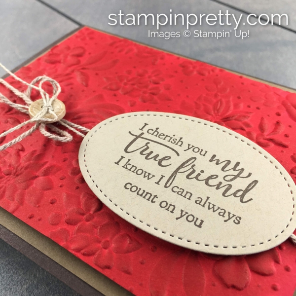 Create this rustic floral card using the Country Floral Embossing Folder by Stampin' Up! Card by Mary Fish, Stampin' Pretty!