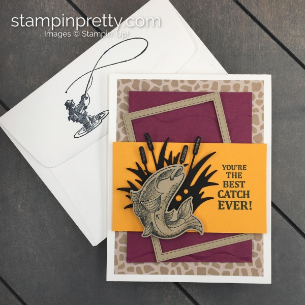 Create this Father's Day Card using the Best Catch Bundle by Stampin' Up! Card created by Mary Fish, Stampin' Pretty