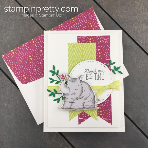 Create this Thank You Card using Animal Expedition DSP and Animal Outing Bundle by Stampin' UP! Stampin' Pretty, Mary Fish