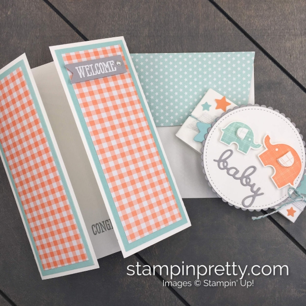 Create this Welcome Baby handmade card using the Little Elephant Stamp Set by Stampin' Up! Card by Mary Fish, Stampin' Pretty