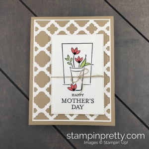 Create this mother's day card using the Just Because Just For Hosts Set Mary Fish, Stampin' Pretty