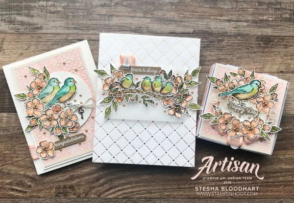 Bird Ballad Suite Trio of Wedding Creations by 2019 Artisan Design Team Member Stesha Bloodhart, Stampin' Hoot for SCT Blog