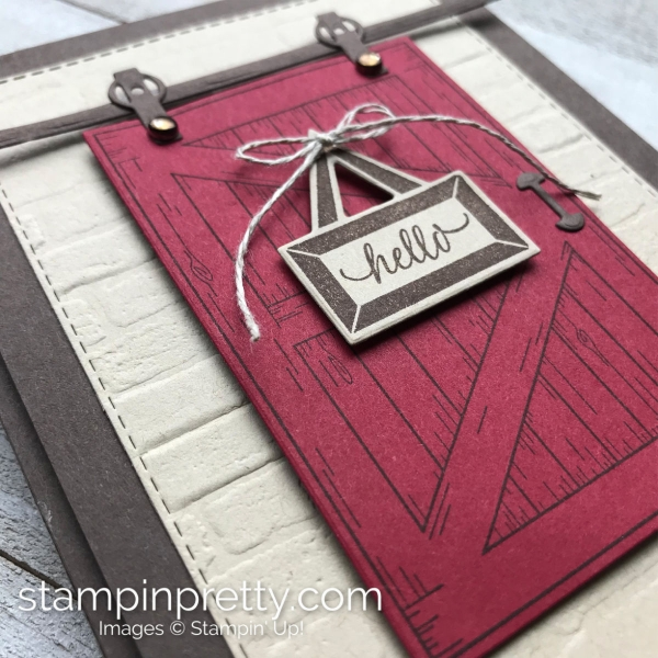 Brick & Mortar 3D Embossing Folder and Barn Door by Stampin' Up! Hello Card by Mary FIsh, Stampin' Pretty