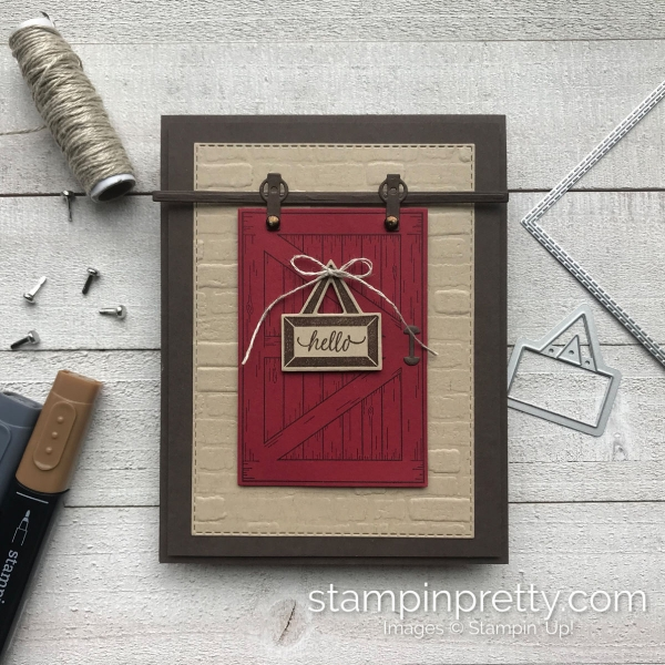 Brick & Mortar 3D Embossing Folder by Stampin' Up! Hello card by Mary Fish, Stampin' Pretty