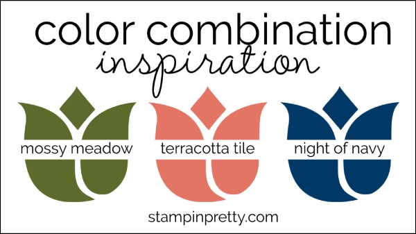 Color Combination mossy meadow, terracotta tile, Night of navy