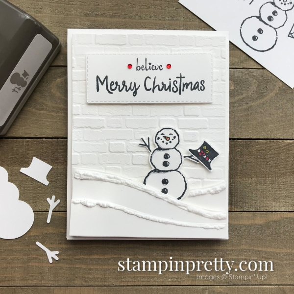 Create this Merry Christmas Card using the Snowman Season Bundle & Snowman Builder Punch by Stampin' Up! Card by Mary Fish, Stampin' Pretty