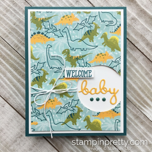 Dinoroar Deisgner Series Paper from Stampin' Up! Welcome Baby Card by Mary Fish, Stampin' Pretty