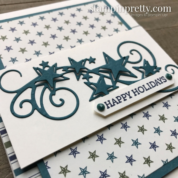 Learn how to create this Brightly Gleaming Specialty DSP & Stitched Stars Dies. Handmade Holiday Card by #MaryFish, #StampinPretty