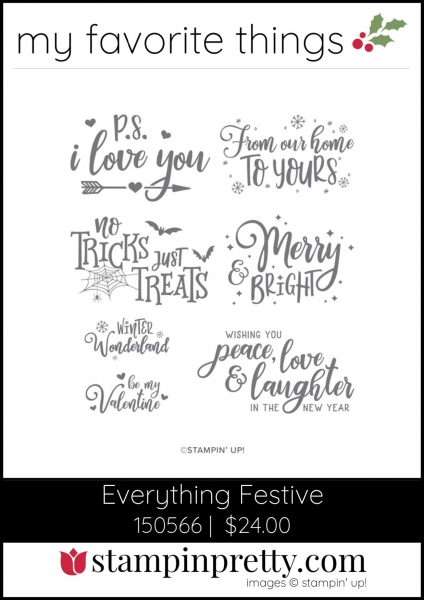 Mary Fish, Stampin' Pretty My Favorite Things 2019 Stampin' Up! Holiday Catalog - Everything Festive  Stamp Set