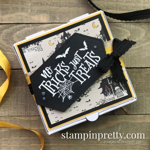 No Tricks Just Treats Halloween Mini Pizza Box, Stampin' Up! Products, Mary Fish, Stampin' Pretty