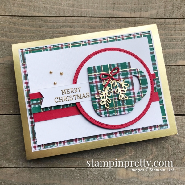 Cup of Christmas & Wrapped in Plaid DSP from Stampin' Up! Merry Christmas Card by Mary Fish, Stampin' Pretty