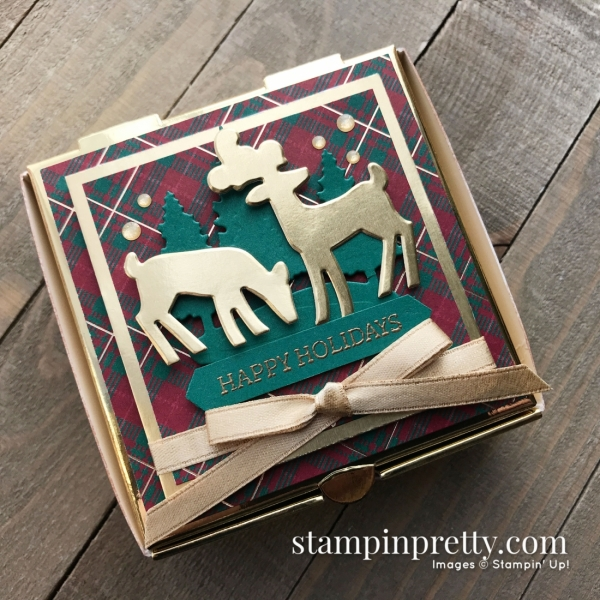 Detailed Deer Dies & Gold Mini Pizza Boxes from Stampin' Up! Created by Mary Fish, Stampin' Pretty