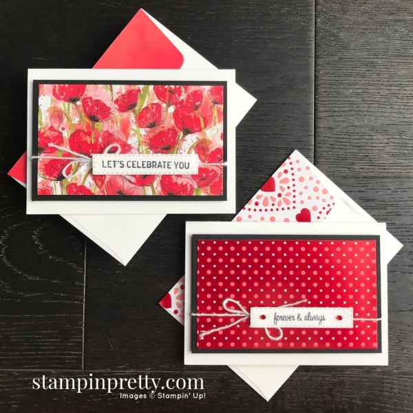 Peaceful Poppies & From My Heart Designer Series Paper by Stampin' Up! Note Cards created by Mary Fish, Stampin' Pretty