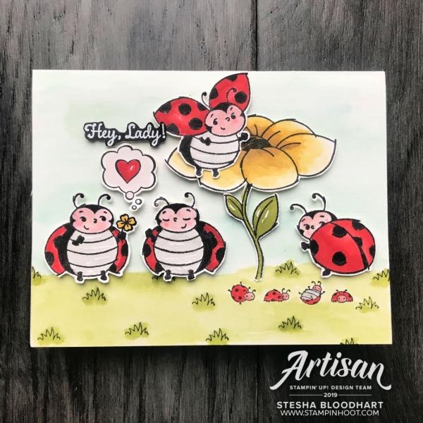 Little Ladybug Cling Stamp Set - Sale-a-Bration - Stampin' Rewards Only - Free with $300 Order - Stesha Bloodhart, Stampin' Hoot! 2019 Artisan Design Team Blog Hop(1)