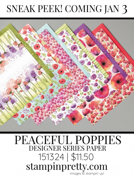 Peaceful Poppies Designer Series Paper by Stampin' up! 151324 Sneak Peek
