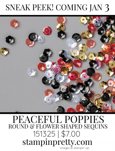 Peaceful Poppies Sequins by Stampin' up! 151325 Sneak Peek