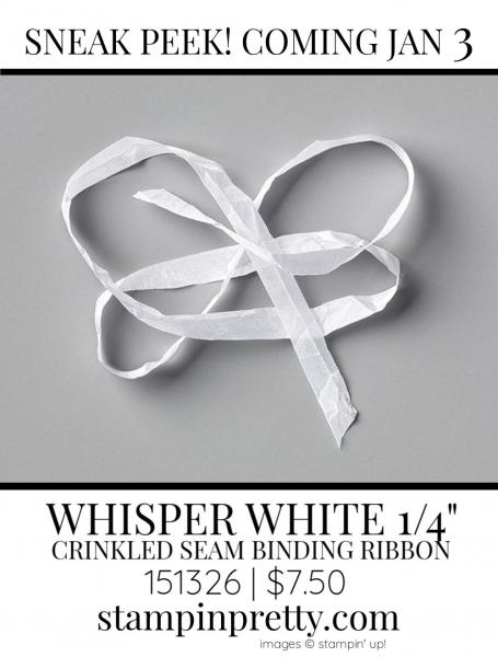 White Seam Binding Ribbon by Stampin' up! 151326 Sneak Peek