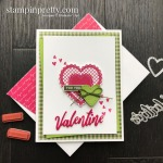 For You From Me Valentine Card - Granny Apple Green, Lovely Lipstick, Mossy Meadow Card by Mary Fish, Stampin