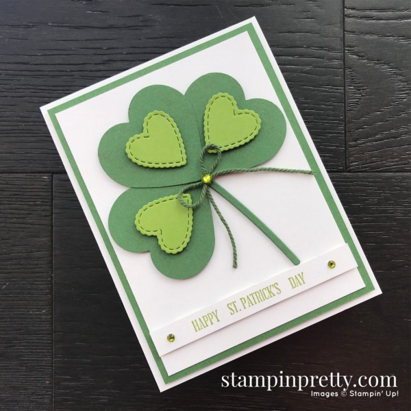 Happy St Patricks Day Heart Card by Mary Fish, Stampin' Pretty Heart Punch Pack by Stampin' UP!