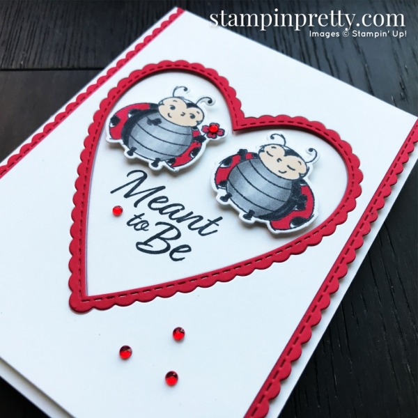 Meant to Be & Little Ladybugs Stamp Set by Stampin' Up! Valentine's card by Mary Fish, Stampin' Pretty