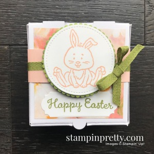 Create this Happy Easter Mini Pizza Gift Box using the Welcome Easter Stamp Set by Stampin' Up! Mary Fish, Stampin' Pretty