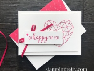Create this Lovely Lipstick Simple Note Card using the Modern Heart Stamp Set from Stampin' Up! Mary Fish, Stampin' Pretty