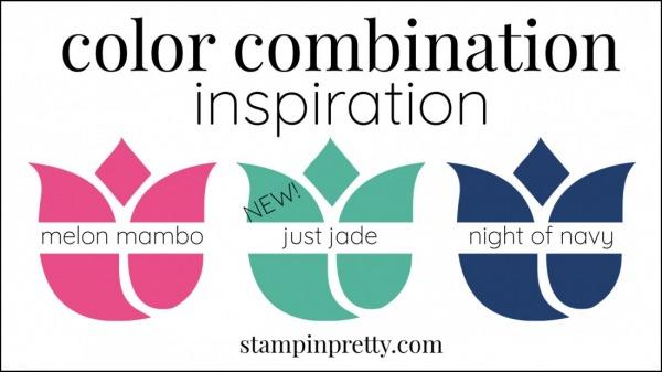 Color Combinations Just Jade, Melon Mambo, Night of Navy
