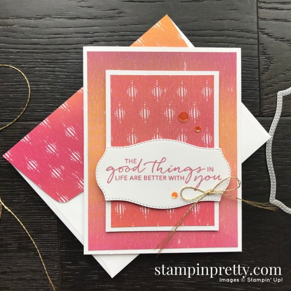 Create this card using the Tasteful Touches Bundle and Artistry Blooms DSP. Card by Mary Fish, Stampin' Pretty