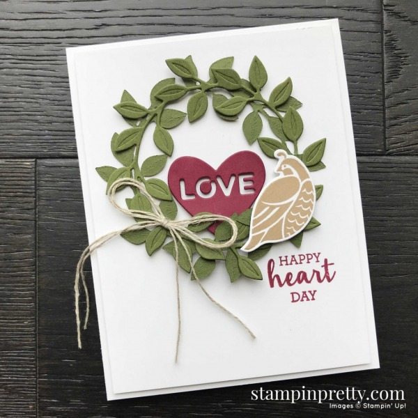 Create this LOVE card using the Arrange a Wreath Bundle by Stampin' Up! Card by Mary Fish, Stampin' Pretty