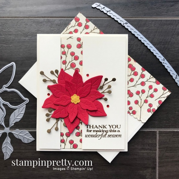 Create this holiday card using the Poinsettia Place Suite from Stampin' Up! Card by Mary Fish, Stampin' Pretty!