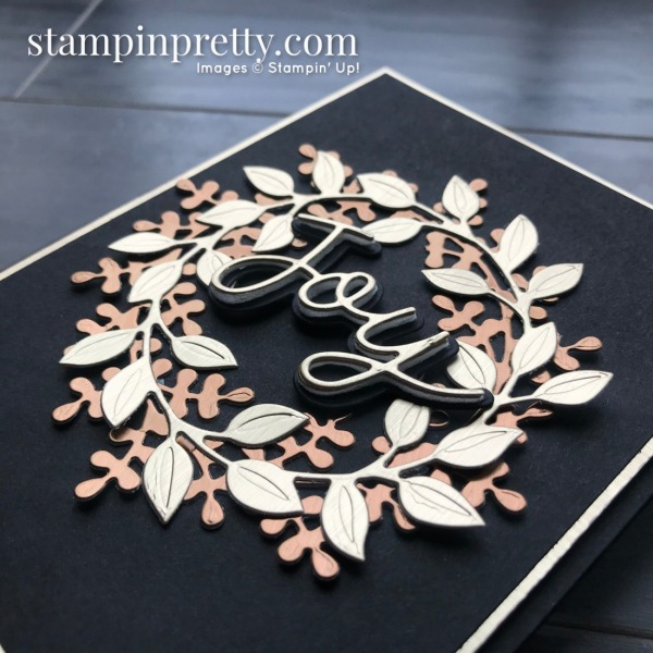 Wreath Builder & Joy Dies from Stampin' Up! Brushed Metallic Paper Cards by Mary Fish, Stampin' Pretty!