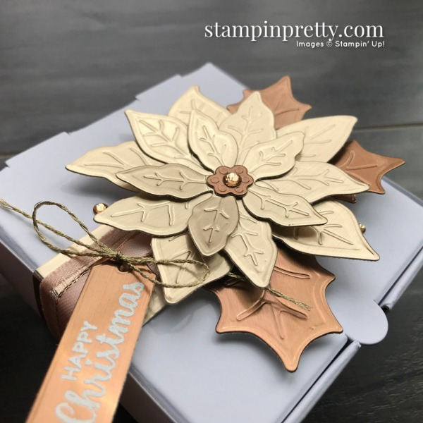 Brushed Metallic Card Stock Poinsettia Mini Pizza Box. Mary Fish, Stampin' Pretty Happy Christmas