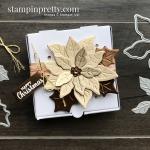 Brushed Metallic Card Stock Poinsettia Mini Pizza Box. Mary Fish, Stampin
