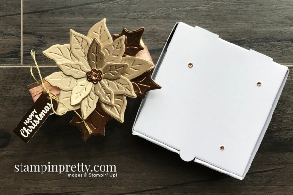 Brushed Metallic Card Stock Poinsettia Mini Pizza Box Belly Band Mary Fish, Stampin' Pretty Happy Christmas